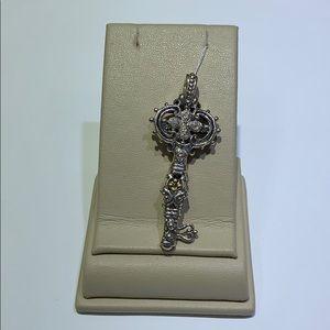 Silver / 18k yellow gold diamond key pendant